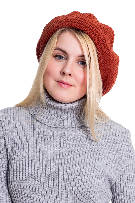 БеретБереты<br>Шерстяной беретик подарит Вам тепло и комфорт.  Стильный берет подчеркнет Вашу женственность и станет прекрасным дополнением Вашего образа.  Головной убор стандартного размера 56-58 см.  Цвет: терракотовый<br><br>По сезону: Осень,Весна<br>Размер : universal<br>Материал: Вязаное полотно<br>Количество в наличии: 2