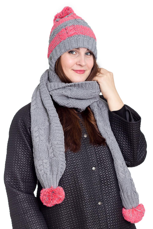 КапорКомплекты<br>Теплый и удобный капор, состоит из сшитых взади шапки и шарфа. Стильный аксессуар защитит Вас от непогоды и станет прекрасным дополнением Вашего образа.  В изделии использованы цвета: серый, коралловый<br><br>По сезону: Зима<br>Размер : universal<br>Материал: Вязаное полотно<br>Количество в наличии: 1
