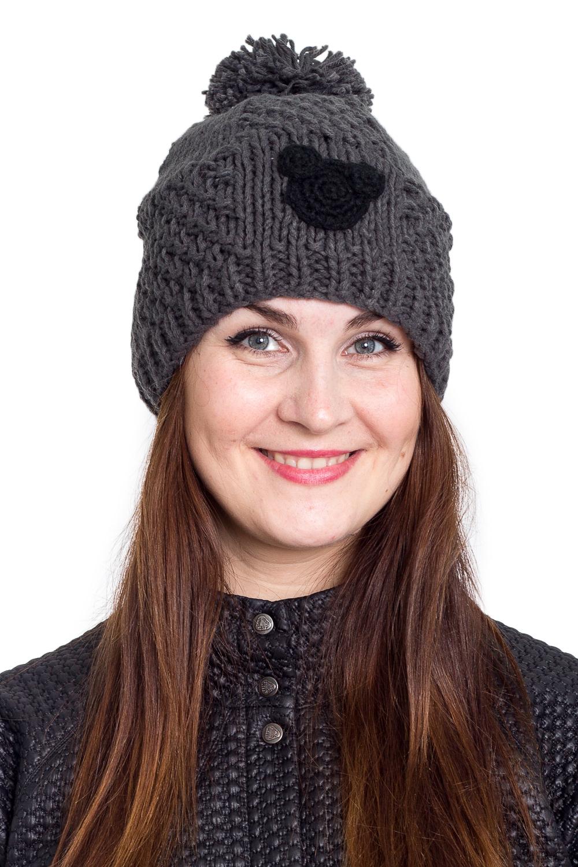ШапкаШапки<br>Однотонная шапка подарит Вам тепло и комфорт.  Стильный аксессуар защитит Вас от непогоды и станет прекрасным дополнением Вашего образа.  В изделии использованы цвета: серый, черный<br><br>По материалу: Вязаные<br>По рисунку: Однотонные<br>По сезону: Зима,Осень,Весна<br>По элементам: С декором,С помпоном<br>Размер : universal<br>Материал: Вязаное полотно<br>Количество в наличии: 1