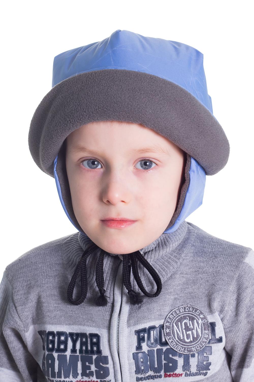 ШапкаГоловные уборы<br>Однотонная шапочка, закрывает ушки, завязывается на веревки, дополнительно утеплена флисом.  Цвет: голубой, серый<br><br>По сезону: Зима<br>Размер : 52<br>Материал: Полиамид<br>Количество в наличии: 1