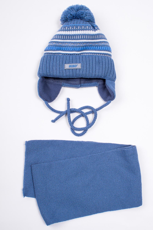 КомплектГоловные уборы<br>Комплект для мальчика защитит Вашего ребенка от непогоды и поднимет настроение. (шапка+шарф) Подклад - флис.  Размер равен обхвату головы в сантиметрах.  Цвет: голубой и др.<br><br>По сезону: Зима<br>Размер : 44-46<br>Материал: Вязаное полотно<br>Количество в наличии: 1