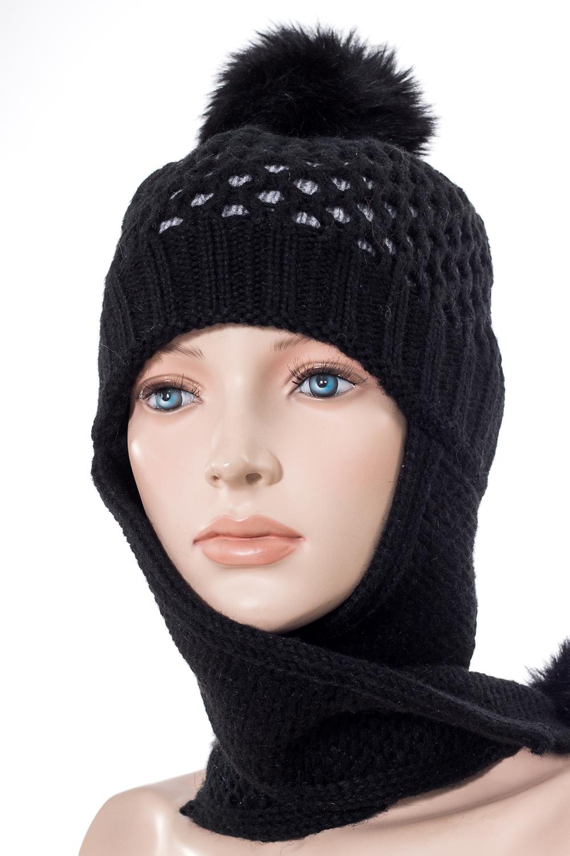 ШапкаГоловные уборы<br>Шапка с помпоном для девочки защитит Вашего ребенка от непогоды и поднимет настроение.  Размер равен обхвату головы в сантиметрах.  Цвет: черный<br><br>По сезону: Зима<br>Размер : 54-55<br>Материал: Вязаное полотно<br>Количество в наличии: 1