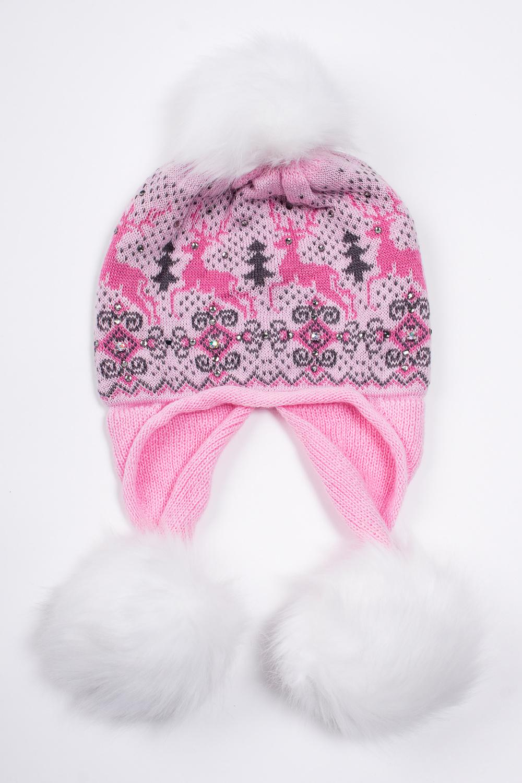 ШапкаГоловные уборы<br>Шапка с помпоном для девочки защитит Вашего ребенка от непогоды и поднимет настроение.  Размер равен обхвату головы в сантиметрах.  В изделии использованы цвета: розовый и др.<br><br>По сезону: Зима<br>Размер : 54-56<br>Материал: Вязаное полотно<br>Количество в наличии: 1