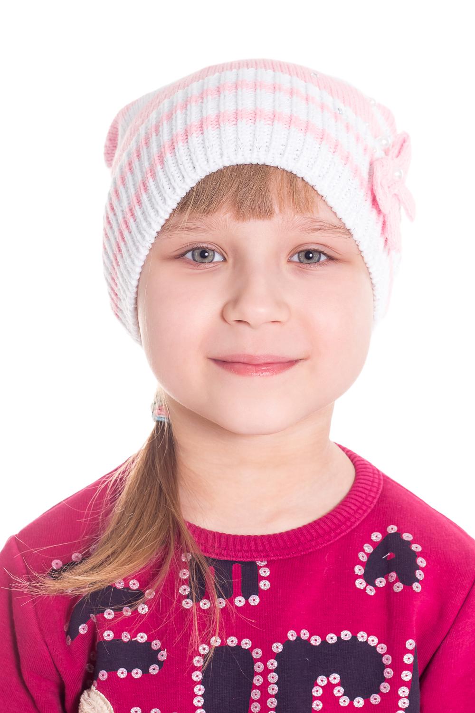 ШапкаГоловные уборы<br>Шапка для девочки защитит Вашего ребенка от непогоды и поднимет настроение.  Размер равен обхвату головы в сантиметрах.  Цвет: белый, розовый  Сезон весенне-осенний.<br><br>По сезону: Осень,Весна<br>Размер : 48-54<br>Материал: Вязаное полотно<br>Количество в наличии: 1