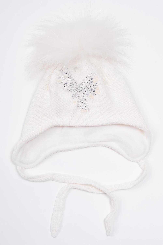ШапкаГоловные уборы<br>Шапка с помпоном для девочки защитит Вашего ребенка от непогоды и поднимет настроение.  Размер равен обхвату головы в сантиметрах.  Цвет: белый<br><br>По сезону: Зима<br>Размер : 46-48<br>Материал: Вязаное полотно<br>Количество в наличии: 1
