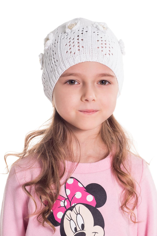ШапкаГоловные уборы<br>Шапка для девочки защитит Вашего ребенка от непогоды и поднимет настроение.  Размер равен обхвату головы в сантиметрах.  Цвет: белый.  Сезон прохладное лето.<br><br>По сезону: Лето<br>Размер: 48-52<br>Материал: 70% хлопок 30% полиэстер<br>Количество в наличии: 1