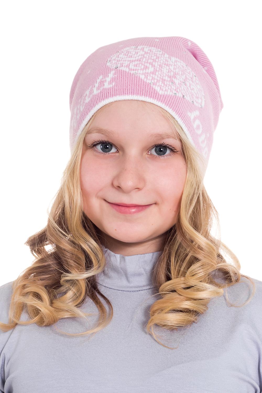 ШапкаГоловные уборы<br>Шапка для девочки защитит Вашего ребенка от непогоды и поднимет настроение.  Размер равен обхвату головы в сантиметрах.  Цвет: розовый, белый.  Сезон весенне-осенний.<br><br>По сезону: Осень,Весна<br>Размер: 50-54<br>Материал: 50% шерсть 50% акрил<br>Количество в наличии: 1