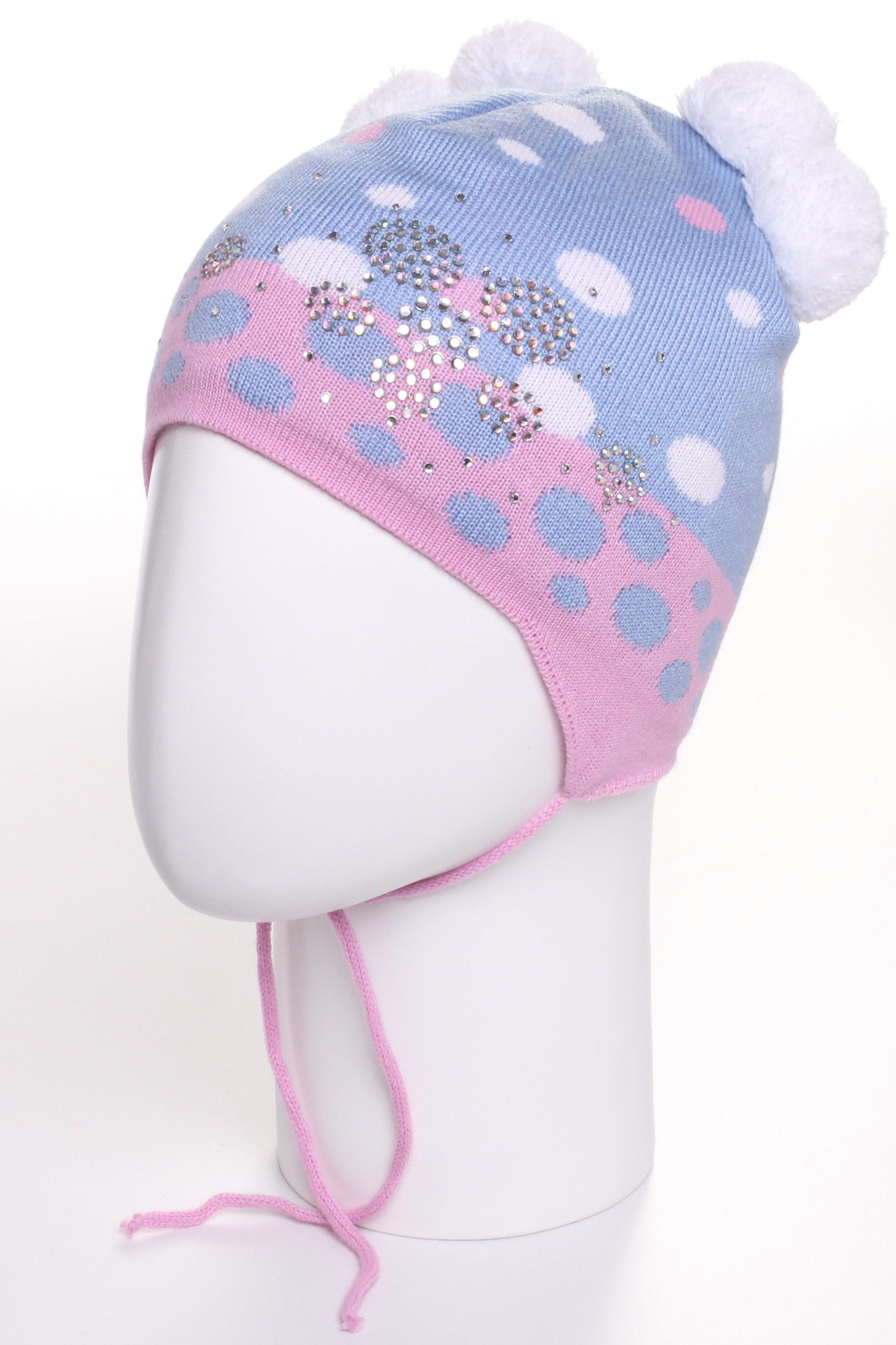 ШапкаГоловные уборы<br>Шапка для девочки защитит Вашего ребенка от непогоды и поднимет настроение.  Размер равен обхвату головы в сантиметрах.  Цвет: голубой, розовый и др.<br><br>По сезону: Зима<br>Размер : 48-52<br>Материал: Вязаное полотно<br>Количество в наличии: 1