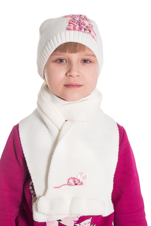 КомплектГоловные уборы<br>Комплект для девочки защитит Вашего ребенка от непогоды и поднимет настроение.  Размер равен обхвату головы в сантиметрах.  Цвет: белый  Сезон весенне-осенний. Толщина одинарная.<br><br>По сезону: Осень,Весна<br>Размер : 48-52<br>Материал: Вязаное полотно<br>Количество в наличии: 1