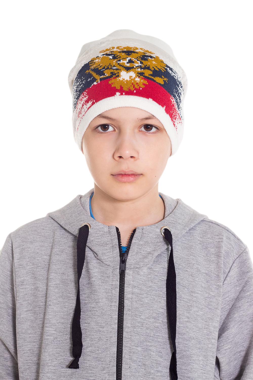 ШапкаГоловные уборы<br>Шапка для мальчика защитит Вашего ребенка от непогоды и поднимет настроение.  Размер равен обхвату головы в сантиметрах.  Цвет: белый, синий, красный.  Сезон весенне-осенний.<br><br>По сезону: Осень,Весна<br>Размер : 54-56<br>Материал: Вязаное полотно<br>Количество в наличии: 1