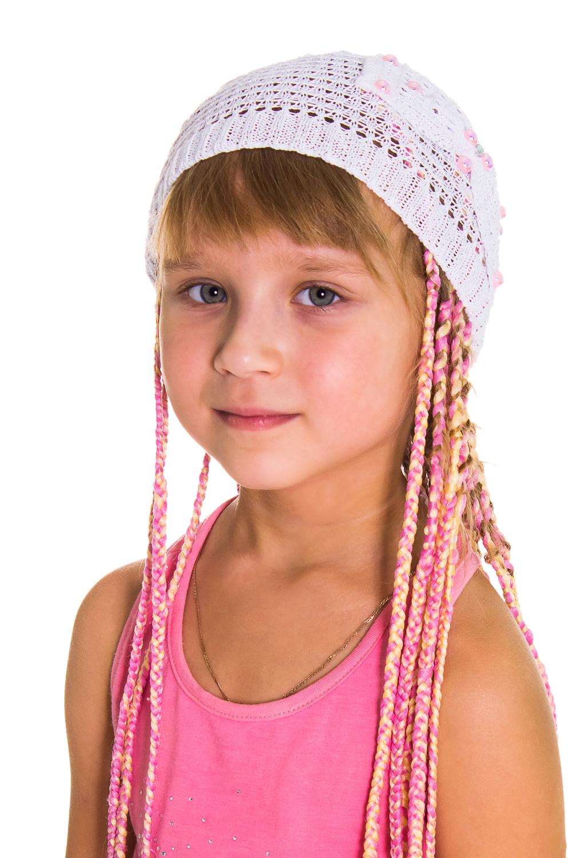 ШапкаГоловные уборы<br>Берет для девочки защитит Вашего ребенка от непогоды и поднимет настроение.  Цвет: белый<br><br>По сезону: Лето<br>Размер : 50-52<br>Материал: Вязаное полотно<br>Количество в наличии: 3