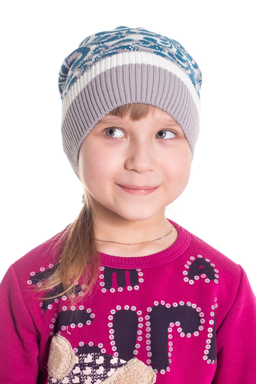 ШапкаГоловные уборы<br>Шапка для девочки защитит Вашего ребенка от непогоды и поднимет настроение.  Размер равен обхвату головы в сантиметрах.  Цвет: серый, белый, бирюзовый.  Сезон осень-весна.<br><br>По сезону: Осень,Весна<br>Размер : 50-54<br>Материал: Вязаное полотно<br>Количество в наличии: 1