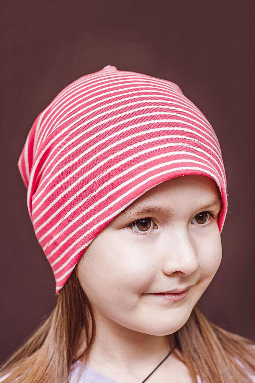ШапкаГоловные уборы<br>Шапка для девочки защитит Вашего ребенка от непогоды и поднимет настроение.  Размер равен обхвату головы в сантиметрах.  Цвет: розовый, белый<br><br>По сезону: Осень,Весна<br>Размер : 40-45,45-50,50-55<br>Материал: Трикотаж<br>Количество в наличии: 6