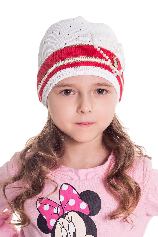 ШапкаГоловные уборы<br>Шапка для девочки защитит Вашего ребенка от непогоды и поднимет настроение.  Размер равен обхвату головы в сантиметрах.  Цвет: белый, красный.  Сезон прохладное лето.<br><br>По сезону: Лето<br>Размер : 48-50<br>Материал: Вязаное полотно<br>Количество в наличии: 2
