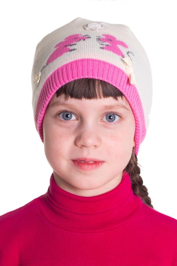 ШапкаГоловные уборы<br>Шапочка для девочки защитит Вашего ребенка от непогоды и поднимет настроение.  Размер равен обхвату головы в сантиметрах.  Цвет: кремовый, розовый<br><br>По сезону: Осень,Весна<br>Размер: 48-50<br>Материал: 100% акрил<br>Количество в наличии: 1