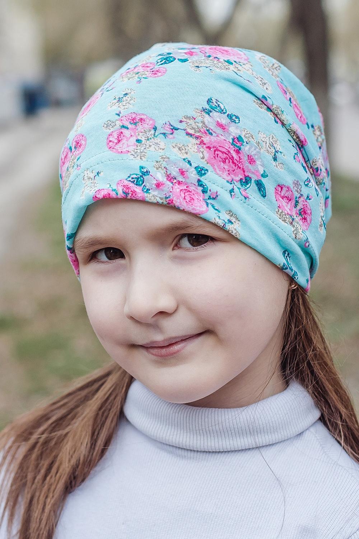 ШапкаГоловные уборы<br>Шапка для девочки защитит Вашего ребенка от непогоды и поднимет настроение.  Размер равен обхвату головы в сантиметрах.  Цвет: мятный, розовый<br><br>По сезону: Осень,Весна<br>Размер : 40-45,45-50,50-55<br>Материал: Трикотаж<br>Количество в наличии: 6