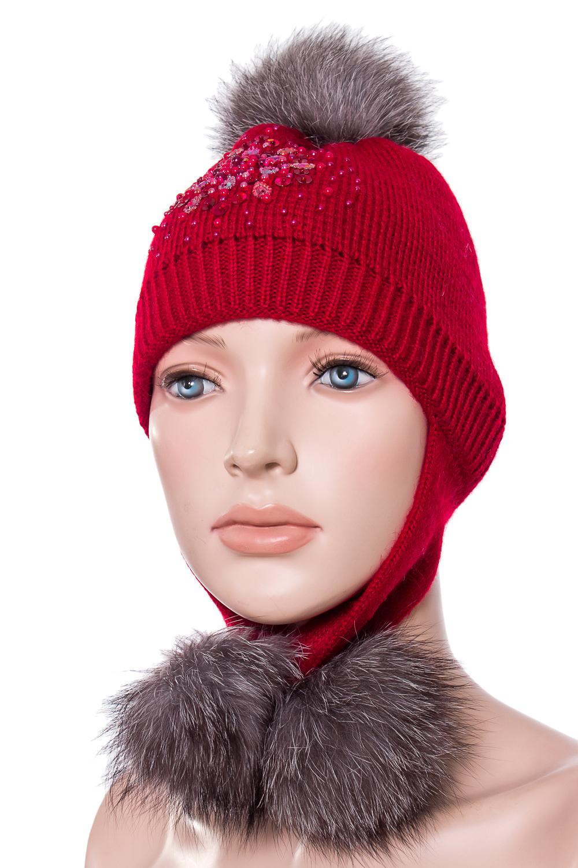 ШапкаГоловные уборы<br>Вязанная шапка с натуральным мехом.  Цвет: красный  Размер: 51-55 см.  Обхват головы измеряется по лобной части над уровнем бровей (на 2-3 сантиметра выше) и по самой выпуклой затылочной части.<br><br>По сезону: Зима<br>Размер : 51-55<br>Материал: Вязаное полотно<br>Количество в наличии: 1
