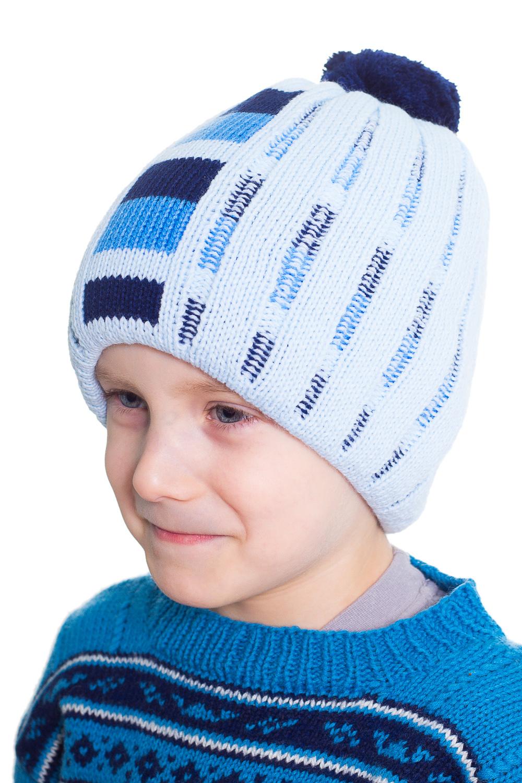 ШапкаГоловные уборы<br>Шапка для мальчика защитит Вашего ребенка от холода.  Цвет: голубой, синий<br><br>По сезону: Зима<br>Размер : 50-52<br>Материал: Вязаное полотно<br>Количество в наличии: 2