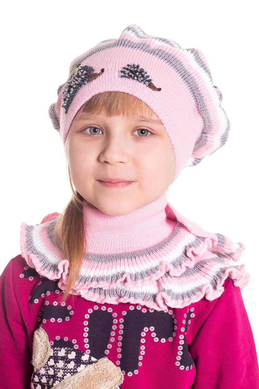 КомплектГоловные уборы<br>Шапка + шарф для девочки защитит Вашего ребенка от непогоды и поднимет настроение.  Размер равен обхвату головы в сантиметрах.  Цвет: розовый, серый, белый  Сезон весенне-осенний.<br><br>По сезону: Осень,Весна<br>Размер: 48-52<br>Материал: 70% акрил 30% шерсть<br>Количество в наличии: 1