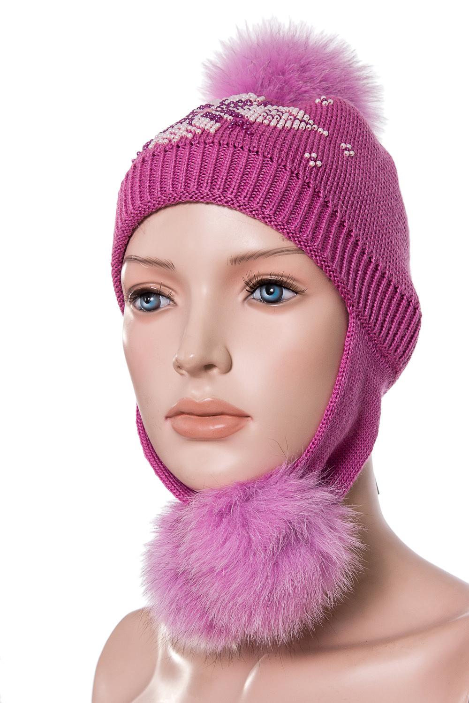 ШапкаГоловные уборы<br>Вязанная шапка с натуральным мехом.  Цвет: розовый  Размер: 52-54 см.  Обхват головы измеряется по лобной части над уровнем бровей (на 2-3 сантиметра выше) и по самой выпуклой затылочной части.<br><br>По сезону: Зима<br>Размер : 52-54<br>Материал: Вязаное полотно<br>Количество в наличии: 1