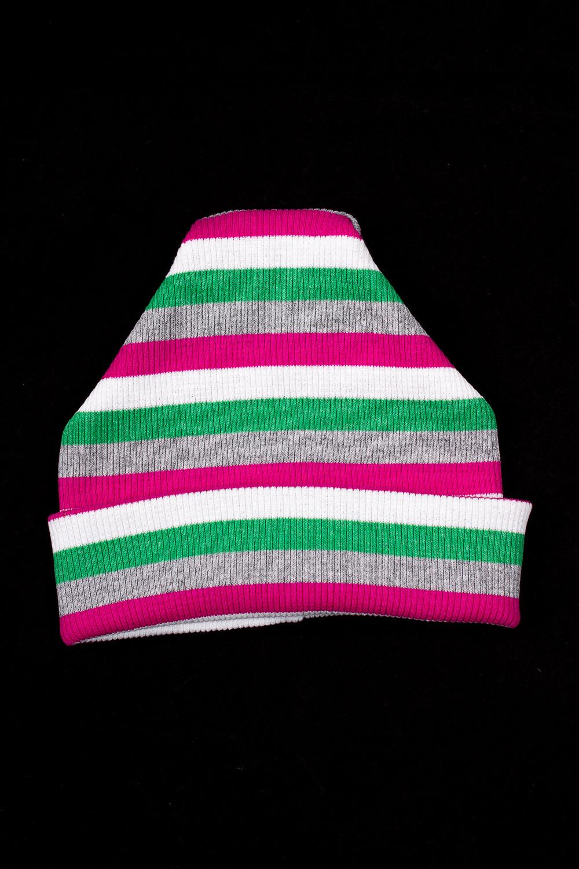 ШапкаГоловные уборы<br>Шапка для мальчика защитит Вашего ребенка от непогоды и поднимет настроение.  Размер равен обхвату головы в сантиметрах.  В изделии использованы цвета: розовый, белый, зеленый, серый.<br><br>По сезону: Осень,Весна<br>Размер : 46,48,50,52,54,56<br>Материал: Трикотаж<br>Количество в наличии: 12