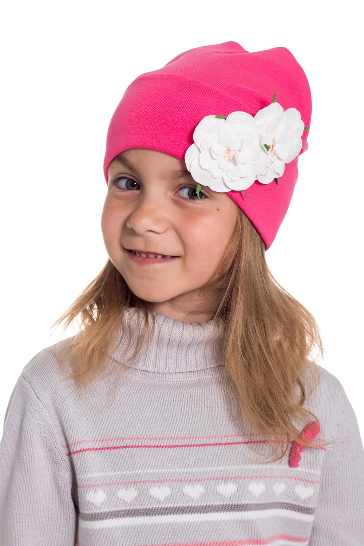 ШапкаГоловные уборы<br>Шапка для девочки защитит Вашего ребенка от непогоды и поднимет настроение.  Размер равен обхвату головы в сантиметрах.  Цвет: розовый<br><br>По сезону: Осень,Весна<br>Размер : 45-50<br>Материал: Трикотаж<br>Количество в наличии: 1