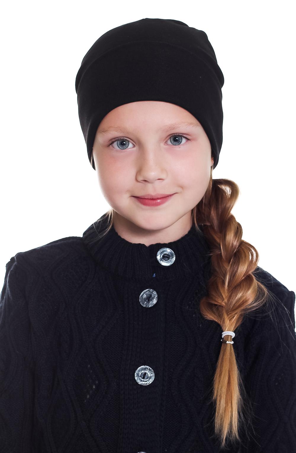 ШапкаГоловные уборы<br>Шапка для девочки защитит Вашего ребенка от непогоды и поднимет настроение.  Размер равен обхвату головы в сантиметрах.  Цвет: черный<br><br>По сезону: Осень,Весна<br>Размер : 40-45,45-50,50-55<br>Материал: Трикотаж<br>Количество в наличии: 3