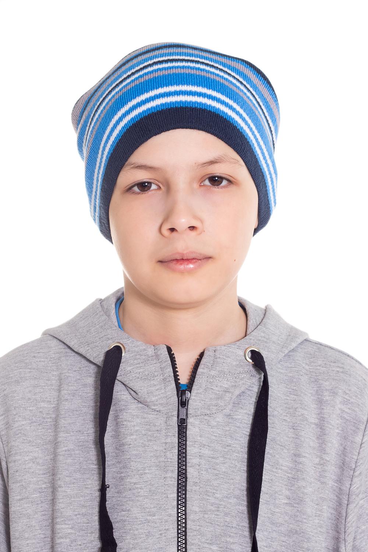 ШапкаГоловные уборы<br>Шапка для мальчика защитит Вашего ребенка от непогоды и поднимет настроение.  Размер равен обхвату головы в сантиметрах.  Цвет: сине-голубой.  Сезон весенне-осенний.<br><br>По сезону: Осень,Весна<br>Размер: 48-52<br>Материал: 70% акрил 30% шерсть<br>Количество в наличии: 1