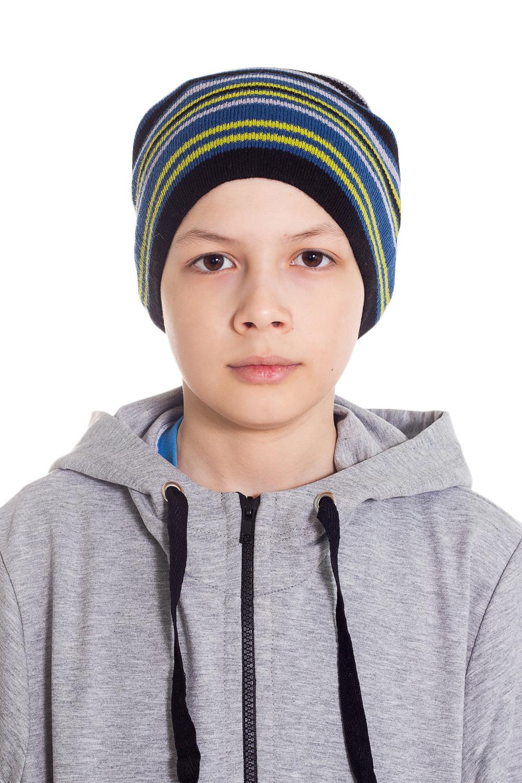 ШапкаГоловные уборы<br>Шапка для мальчика защитит Вашего ребенка от непогоды и поднимет настроение.  Размер равен обхвату головы в сантиметрах.  Цвет: мультицвет.  Сезон весенне-осенний.<br><br>По сезону: Осень,Весна<br>Размер : 48-52<br>Материал: Вязаное полотно<br>Количество в наличии: 1