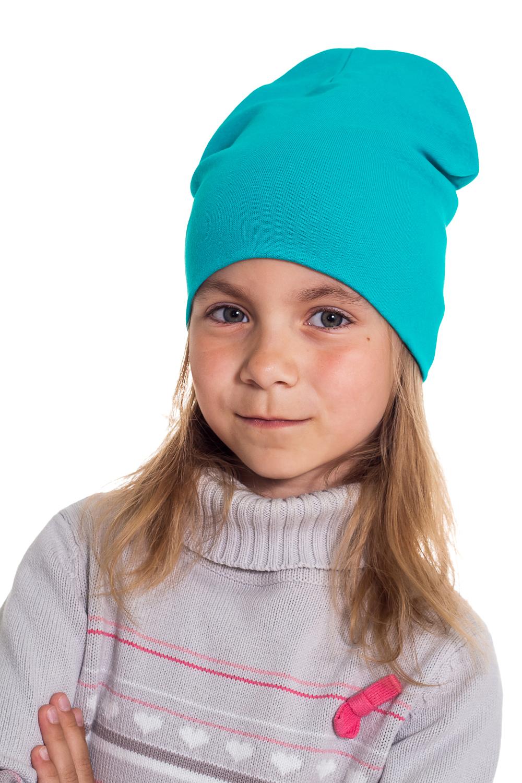 ШапкаГоловные уборы<br>Шапка для девочки защитит Вашего ребенка от непогоды и поднимет настроение.  Размер равен обхвату головы в сантиметрах.  Цвет: бирюзовый<br><br>По сезону: Осень,Весна<br>Размер : 40-45<br>Материал: Трикотаж<br>Количество в наличии: 2