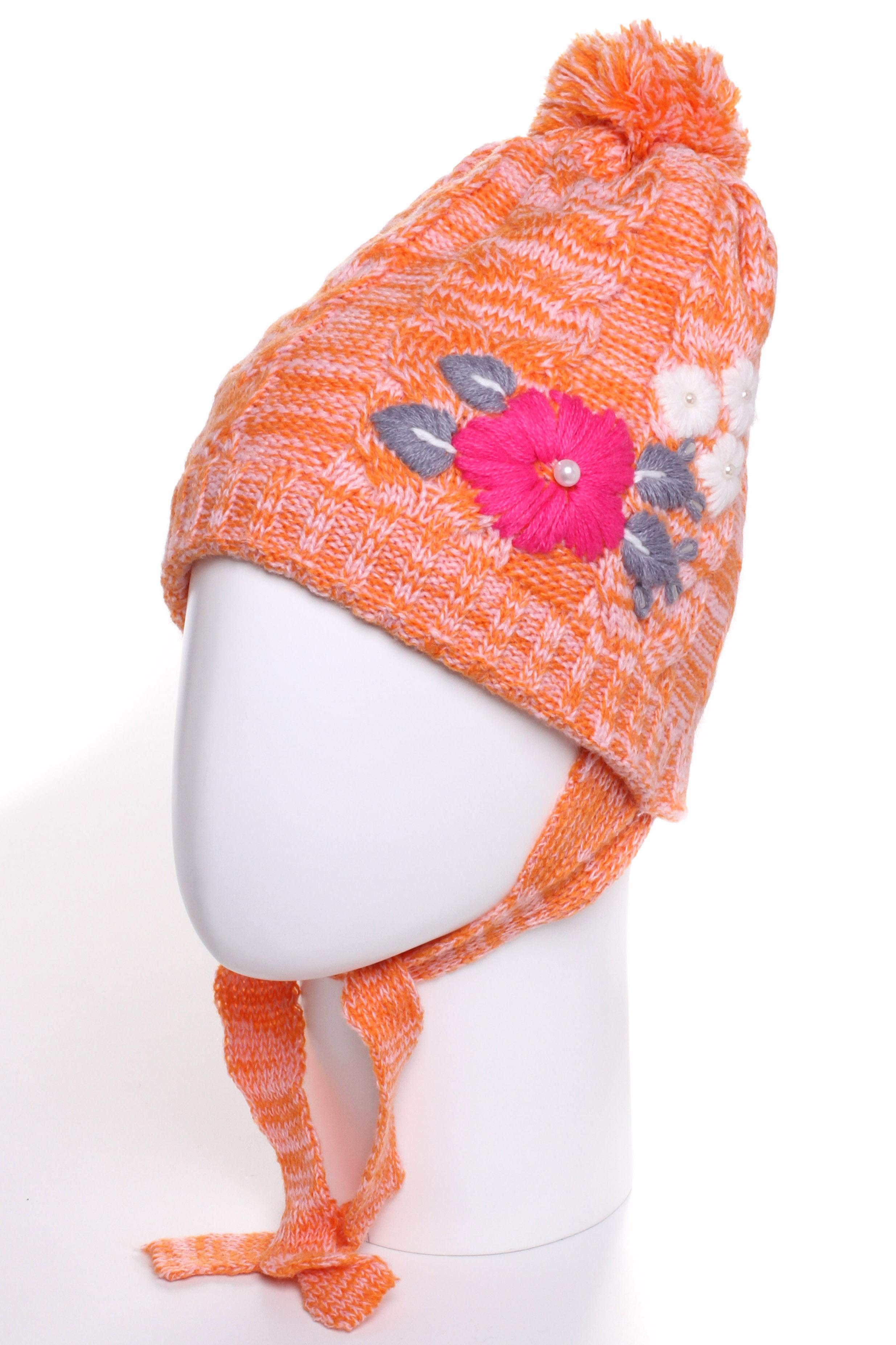 ШапкаГоловные уборы<br>Шапка для девочки защитит Вашего ребенка от непогоды и поднимет настроение.  Размер равен обхвату головы в сантиметрах.  Цвет: оранжевый и др.<br><br>По сезону: Зима<br>Размер : 50-54<br>Материал: Вязаное полотно<br>Количество в наличии: 1