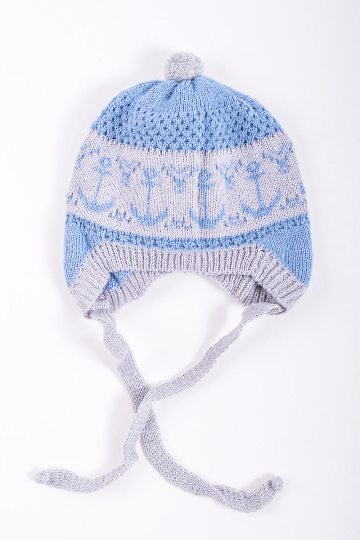 ШапкаГоловные уборы<br>Шапка для мальчика защитит Вашего ребенка от непогоды и поднимет настроение.  Размер равен обхвату головы в сантиметрах.  Цвет: нежно-синий, серый  Сезон весенне-осенний.<br><br>По сезону: Осень,Весна<br>Размер : 46-48<br>Материал: Вязаное полотно<br>Количество в наличии: 1