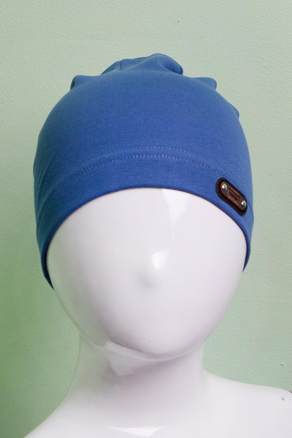 ШапкаГоловные уборы<br>Шапка для мальчика защитит Вашего ребенка от непогоды и поднимет настроение.  Размер равен обхвату головы в сантиметрах.  Цвет: синий<br><br>По сезону: Осень,Весна<br>Размер : 50-54<br>Материал: Трикотаж<br>Количество в наличии: 1