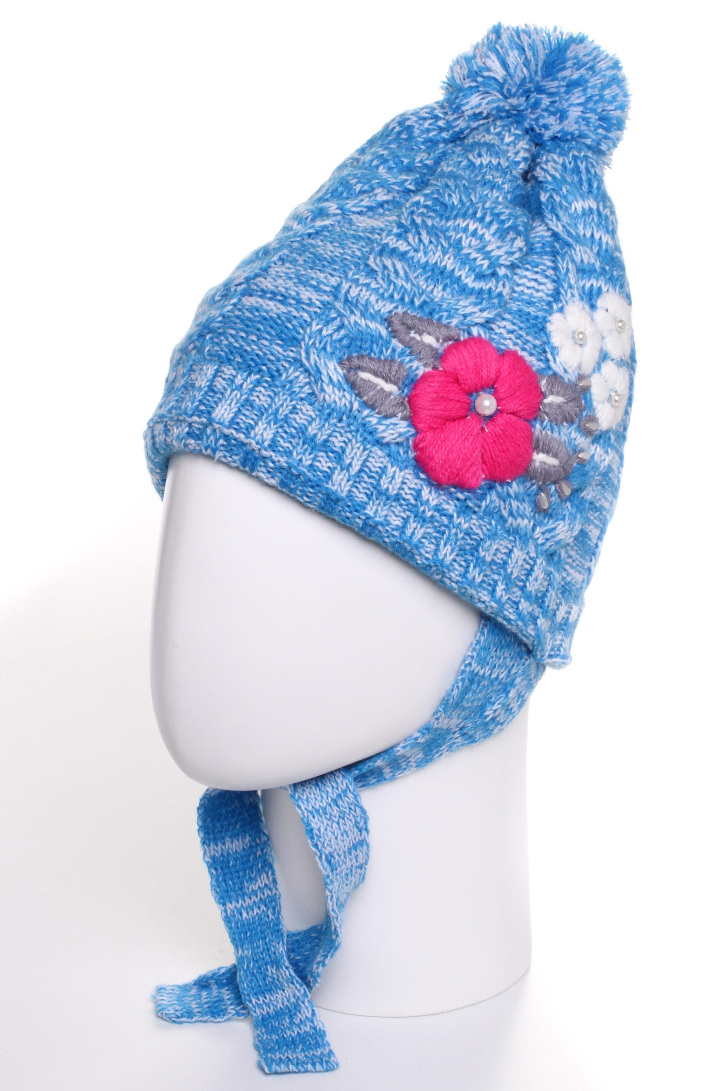 ШапкаГоловные уборы<br>Шапка для девочки защитит Вашего ребенка от непогоды и поднимет настроение.  Размер равен обхвату головы в сантиметрах.  Цвет: голубой и др.<br><br>По сезону: Осень,Весна<br>Размер : 50-54<br>Материал: Вязаное полотно<br>Количество в наличии: 1