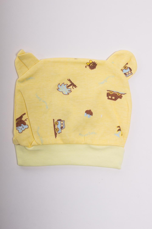 ШапкаШапочки<br>Хлопковая шапочка для новорожденного  Цвет: желтый, белый, коричневый  Размер равен обхвату головы в сантиметрах.  Обхват головы измеряется по лобной части над уровнем бровей (на 2-3 сантиметра выше) и по самой выпуклой затылочной части.<br><br>Размер : 40,44,48<br>Материал: Хлопок<br>Количество в наличии: 4