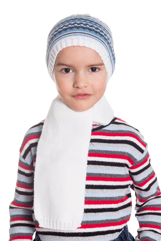 КомплектГоловные уборы<br>Комплект для мальчика защитит Вашего ребенка от непогоды и поднимет настроение.  Размер равен обхвату головы в сантиметрах.  Цвет: белый, голубой, синий  Сезон весенне-осенний. Толщина одинарная.<br><br>По сезону: Осень,Весна<br>Размер : 46-50<br>Материал: Вязаное полотно<br>Количество в наличии: 1