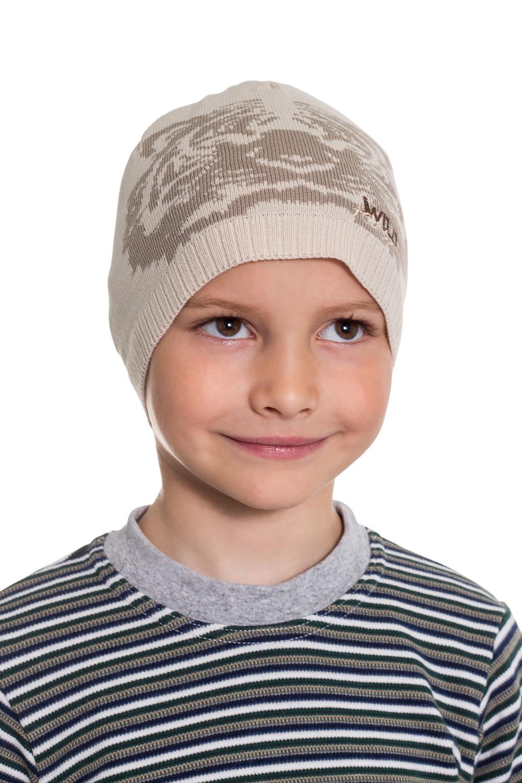 ШапкаГоловные уборы<br>Шапка для мальчика защитит Вашего ребенка от непогоды и поднимет настроение.  Размер равен обхвату головы в сантиметрах.  Цвет: бежевый, коричневый<br><br>По сезону: Осень,Весна<br>Размер : 50-52<br>Материал: Вязаное полотно<br>Количество в наличии: 1
