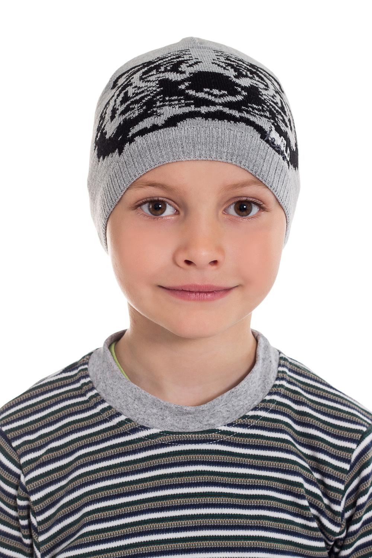 ШапкаГоловные уборы<br>Шапка для мальчика защитит Вашего ребенка от непогоды и поднимет настроение.  Размер равен обхвату головы в сантиметрах.  Цвет: серый, черный<br><br>По сезону: Осень,Весна<br>Размер : 50-52<br>Материал: Вязаное полотно<br>Количество в наличии: 1