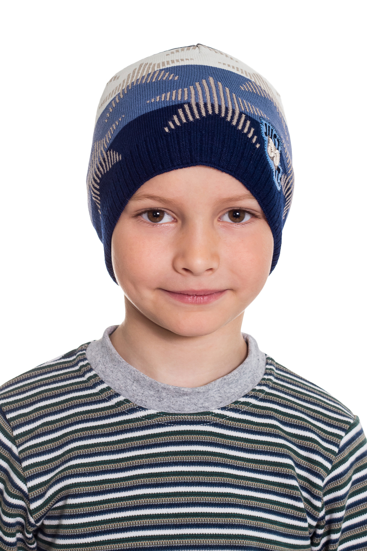 ШапкаГоловные уборы<br>Шапка для мальчика защитит Вашего ребенка от непогоды и поднимет настроение.  Размер равен обхвату головы в сантиметрах.  Цвет: синий, голубой, белый<br><br>По сезону: Осень,Весна<br>Размер : 52-54<br>Материал: Вязаное полотно<br>Количество в наличии: 1