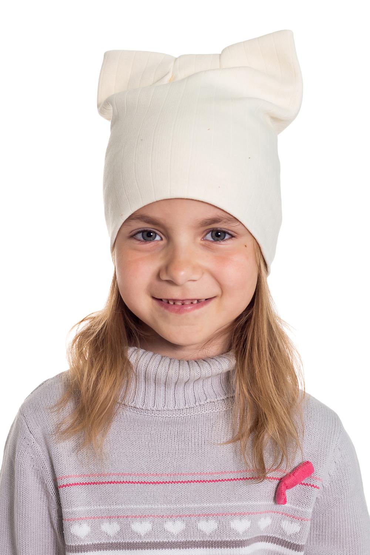ШапкаГоловные уборы<br>Шапка для девочки защитит Вашего ребенка от непогоды и поднимет настроение.  Размер равен обхвату головы в сантиметрах.  Цвет: молочный<br><br>По сезону: Осень,Весна<br>Размер : 40-45,45-50,50-55<br>Материал: Трикотаж<br>Количество в наличии: 2