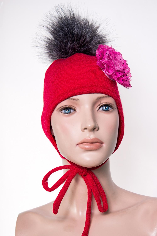 ШапкаГоловные уборы<br>Шапка для девочки защитит Вашего ребенка от непогоды и поднимет настроение.  Размер равен обхвату головы в сантиметрах.  Верхний слой - вязанный трикотаж,  подклад – хлопок, утеплитель – холлофайбер, помпон из искусственного меха.  В изделии использованы цвета: красный, розовый, черный<br><br>По сезону: Зима<br>Размер : 46-50,50-54<br>Материал: Вязаное полотно<br>Количество в наличии: 2