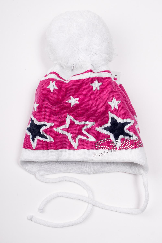 ШапкаГоловные уборы<br>Шапка с помпоном для девочки защитит Вашего ребенка от непогоды и поднимет настроение.  Размер равен обхвату головы в сантиметрах.  Цвет: розовый и др.<br><br>По сезону: Зима<br>Размер : 48-52<br>Материал: Вязаное полотно<br>Количество в наличии: 1