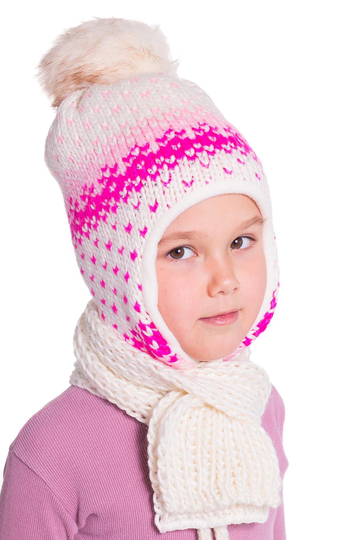 КомлектГоловные уборы<br>Комплект для девочки защитит Вашего ребенка от непогоды и поднимет настроение. Комплект состоит из шапки и шарфика.  Цвет: белый, розовый<br><br>По сезону: Зима<br>Размер : 54-56<br>Материал: Вязаное полотно<br>Количество в наличии: 1