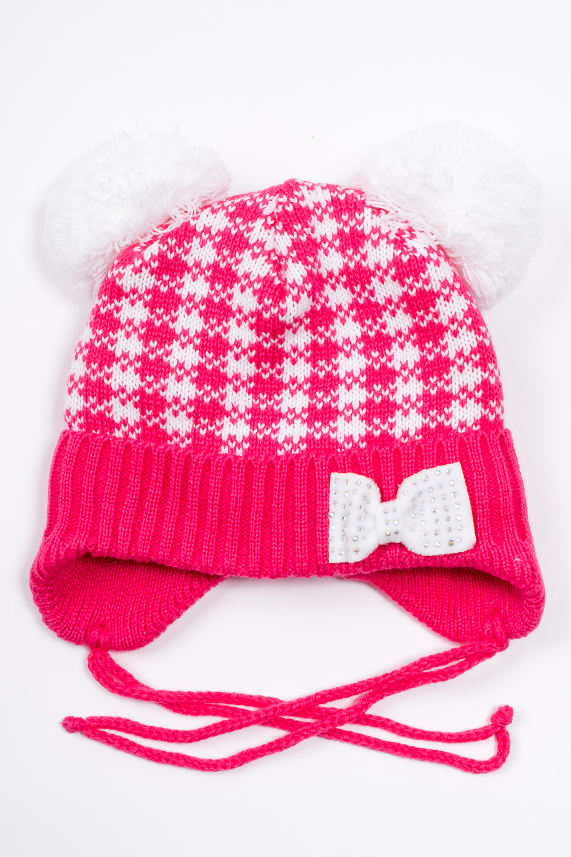 ШапкаГоловные уборы<br>Шапка для девочки защитит Вашего ребенка от непогоды и поднимет настроение. Подклад 100% п/э  Размер равен обхвату головы в сантиметрах.  В изделии использованы цвета: малиновый. белый.<br><br>По сезону: Зима<br>Размер : 46-48<br>Материал: Вязаное полотно<br>Количество в наличии: 1