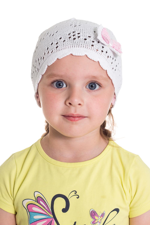 ШапочкаГоловные уборы<br>Шапка для девочки защитит Вашего ребенка от непогоды и поднимет настроение.  Размер равен обхвату головы в сантиметрах.  Цвет: белый<br><br>По сезону: Лето<br>Размер : 48-50<br>Материал: Трикотаж<br>Количество в наличии: 5