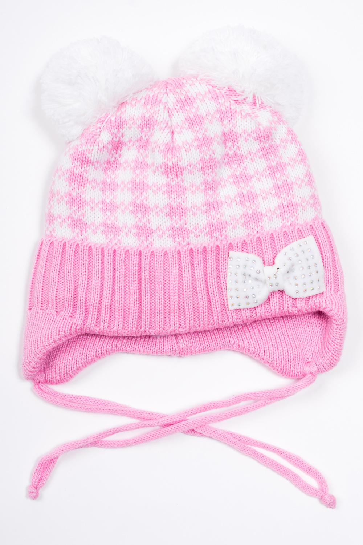 ШапкаГоловные уборы<br>Шапка для девочки защитит Вашего ребенка от непогоды и поднимет настроение. Подклад 100% п/э  Размер равен обхвату головы в сантиметрах.  В изделии использованы цвета: розовый, белый.<br><br>По сезону: Зима<br>Размер : 46-48<br>Материал: Вязаное полотно<br>Количество в наличии: 1