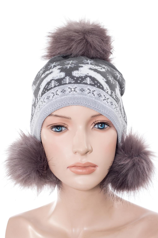 ШапкаГоловные уборы<br>Шапка с помпонами для девочки защитит Вашего ребенка от непогоды и поднимет настроение. Подклад - флис, помпоны из искусственного меха.  Размер равен обхвату головы в сантиметрах.  Цвет: серый<br><br>По сезону: Зима<br>Размер : 54-55<br>Материал: Трикотаж<br>Количество в наличии: 1
