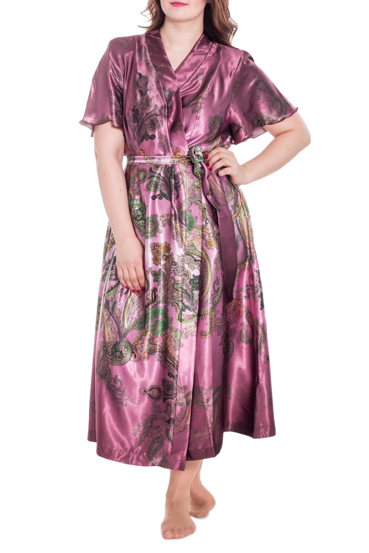 ХалатХалаты<br>Шелковый халат на запах. Домашняя одежда, прежде всего, должна быть удобной, практичной и красивой. В нашей домашней одежде Вы будете чувствовать себя комфортно, особенно, по вечерам после трудового дня.  Цвет: розовый, зеленый  Рост девушки-фотомодели 180 см<br><br>Горловина: V- горловина,Запах<br>По материалу: Шелк<br>По рисунку: Цветные,Этнические,С принтом<br>По силуэту: Полуприталенные<br>Рукав: Короткий рукав<br>По сезону: Всесезон<br>По длине: Ниже колена<br>Размер : 74,76,78,80,82<br>Материал: Шелк<br>Количество в наличии: 8