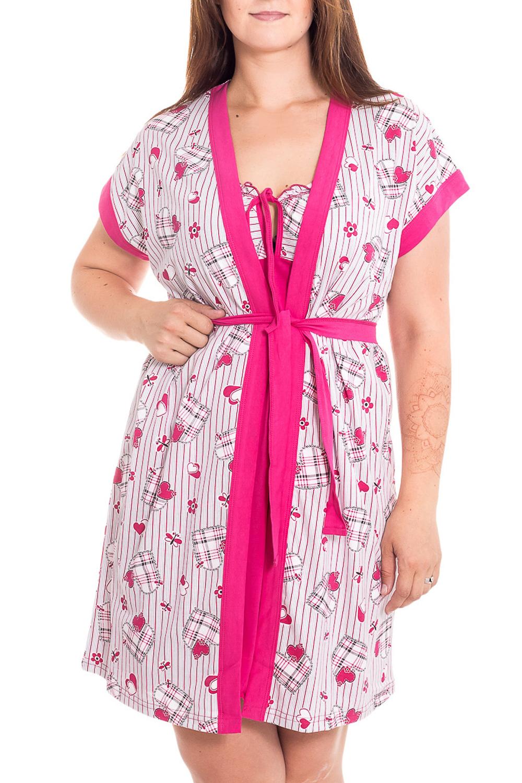 ПеньюарКомплекты и костюмы<br>Пеньюар состоит из ночной сорочки и халата. Сорочка прилегающего силуэта, длиной выше колена. Халат на запах, прилегающего силуэта, длиной чуть выше колена. Рукав короткий.  В изделии использованы цвета: белый, розовый  Рост девушки-фотомодели 180 см<br><br>Бретели: Тонкие бретели<br>Горловина: Запах<br>По рисунку: Цветные,С принтом<br>По элементам: С запахом<br>Рукав: Короткий рукав<br>По сезону: Всесезон<br>По материалу: Хлопок<br>Размер : 50<br>Материал: Хлопок<br>Количество в наличии: 1