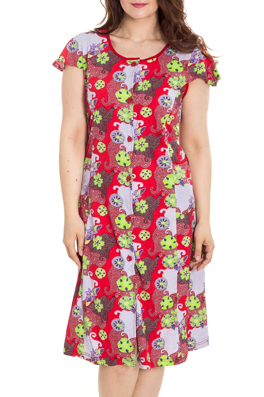 ХалатХалаты<br>Цветной халат с застежкой на пуговицы. Домашняя одежда, прежде всего, должна быть удобной, практичной и красивой. В наших изделиях Вы будете чувствовать себя комфортно, особенно, по вечерам после трудового дня.  Цвет: красный, мультицвет  Рост девушки-фотомодели 180 см<br><br>Горловина: С- горловина<br>По рисунку: Цветные,С принтом<br>По элементам: С карманами<br>Рукав: Короткий рукав<br>По сезону: Всесезон<br>По длине: Ниже колена<br>По материалу: Трикотаж,Хлопок<br>Размер : 46,48,50,52,54,60,62,64<br>Материал: Трикотаж<br>Количество в наличии: 39